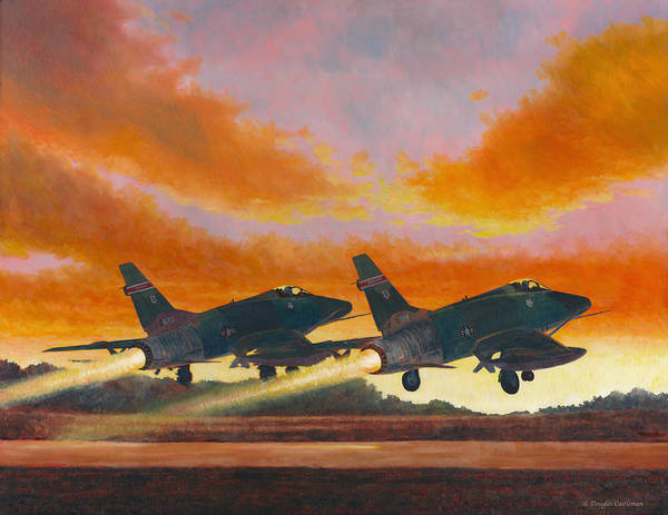 F-100d's Missouri Ang At Dusk Art Print