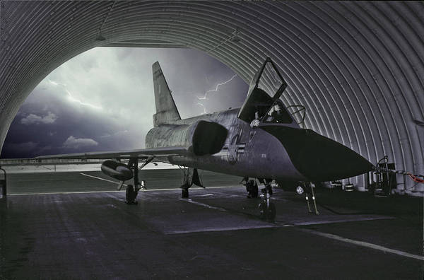 Delta Mixed Media - F-106 Waiting Out The Storm by Erik Simonsen
