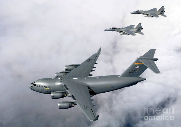 C-17 Photograph - F-15b Eagles Escort The First by Stocktrek Images