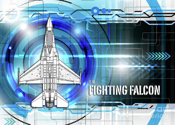 General Dynamics Digital Art - F-16 Fighting Falcon Blueprint by J Biggadike