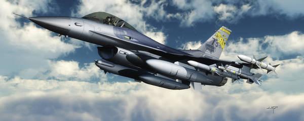Bird Strike Wall Art - Digital Art - F-16 Fighting Falcon by Steven Palmer