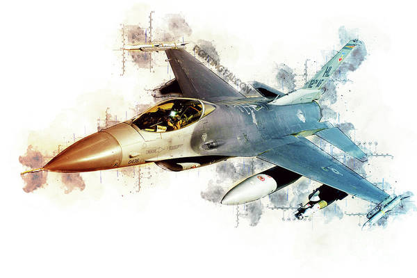 General Dynamics Digital Art - F-16 Fighting Falcon Tech by J Biggadike