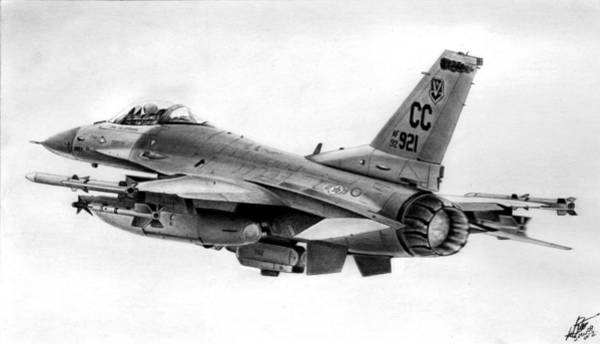 Wall Art - Drawing - F-16 by Lyle Brown
