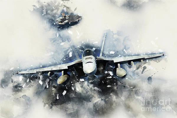 Uss Hornet Digital Art - F-18 Super Hornet Painting by J Biggadike