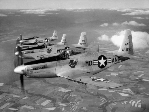 National Guard Photograph - F-51h Mustang Formation - 1952 by War Is Hell Store