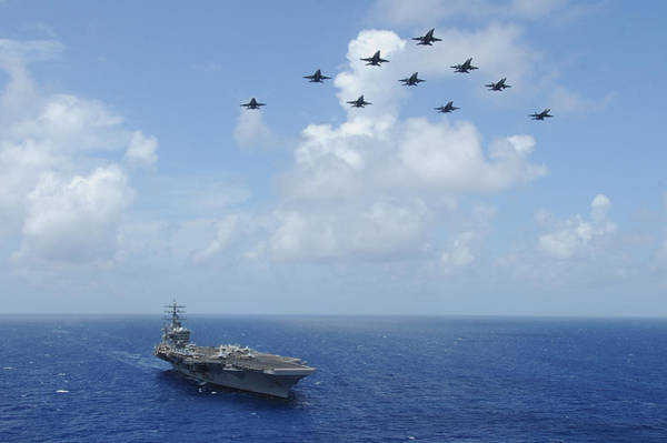 Sharpshooter Wall Art - Painting - F-a-18c Hornets Fly Over The Aircraft Carrier Uss Dwight D. Eisenhower by Celestial Images