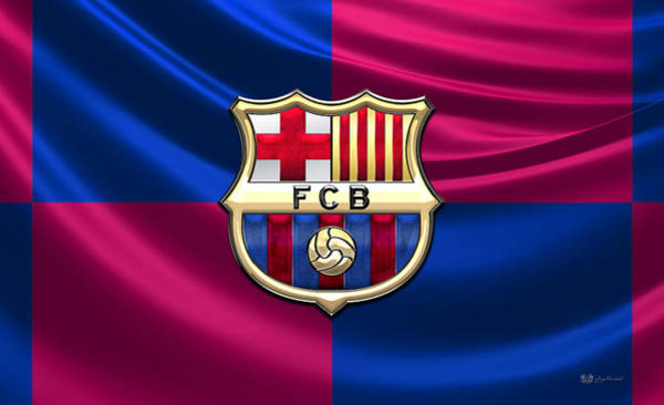 Fineart Wall Art - Photograph - F. C. Barcelona - 3d Badge Over Flag by Serge Averbukh