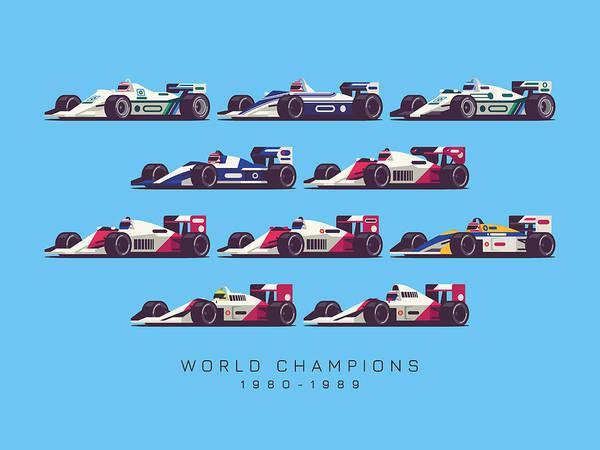 Races Digital Art - F1 World Champions 1980s - Blue by Ivan Krpan
