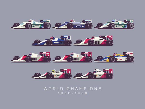 1 Wall Art - Digital Art - F1 World Champions 1980s - Dark Grey by Ivan Krpan
