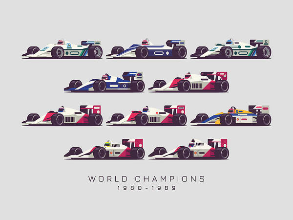 1 Wall Art - Digital Art - F1 World Champions 1980s - Light Grey by Ivan Krpan