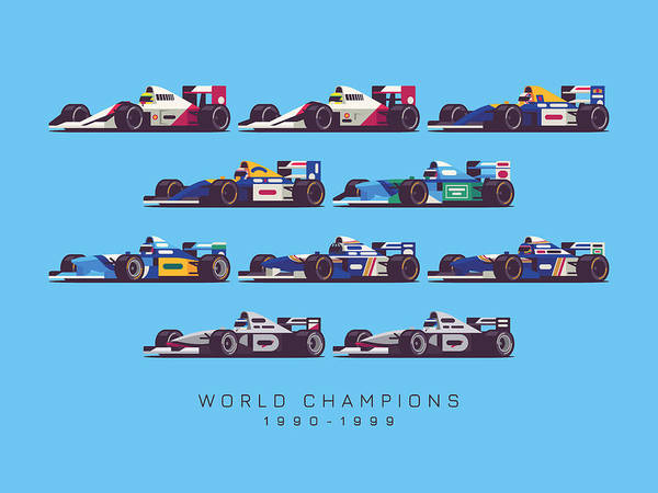 Hills Digital Art - F1 World Champions 1990s - Blue by Ivan Krpan