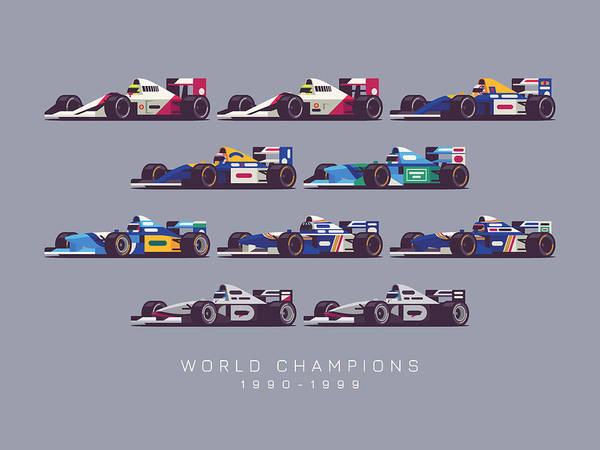 Hills Digital Art - F1 World Champions 1990s - Dark Grey by Ivan Krpan