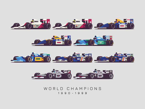 Hills Digital Art - F1 World Champions 1990s - Light Grey by Ivan Krpan