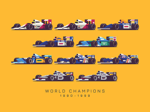 Hills Digital Art - F1 World Champions 1990s - Yellow by Ivan Krpan