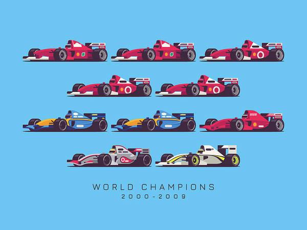 1 Wall Art - Digital Art - F1 World Champions 2000s - Blue by Ivan Krpan