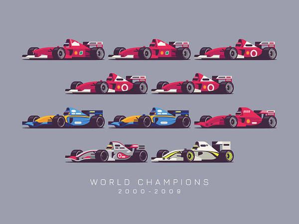 Races Digital Art - F1 World Champions 2000s - Dark Grey by Ivan Krpan