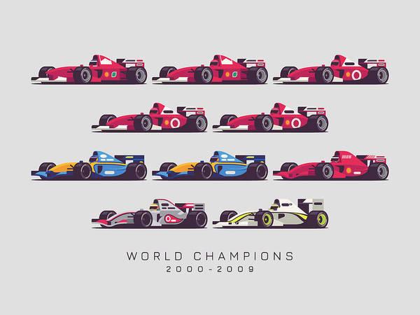1 Wall Art - Digital Art - F1 World Champions 2000s - Light Grey by Ivan Krpan
