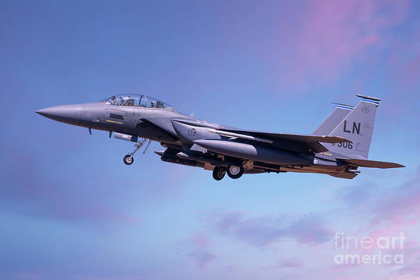 Flyby Photograph - F15 Coming Into Land Lowering Landing Gear by Simon Bratt Photography LRPS