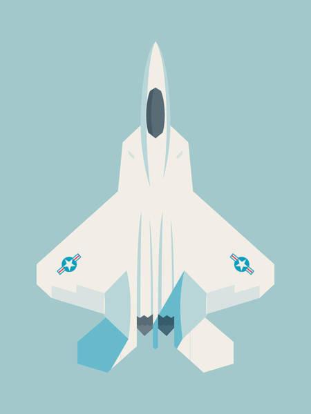 Jet Digital Art - F22 Raptor Jet Fighter Aircraft - Sky by Ivan Krpan