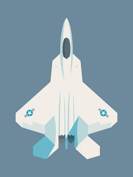 Jet Digital Art - F22 Raptor Jet Fighter Aircraft - Slate by Ivan Krpan