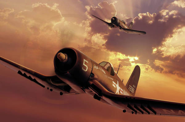 Corsair Painting - F4u Corsairs by Ron Cole