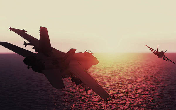Painting - Fa-18 At Sunset by Andrea Mazzocchetti