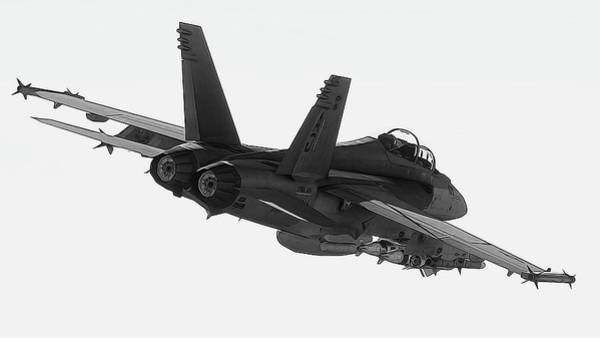 Painting - Fa-18 In Black And White by Andrea Mazzocchetti