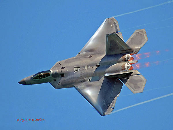 Exhaust Digital Art - Fa 22 Raptor From Air Show by DigiArt Diaries by Vicky B Fuller