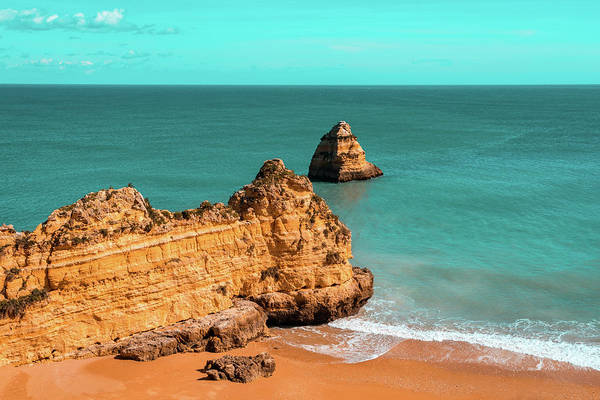 Complementary Colours Photograph - Fabulous Dona Ana Beach In Lagos Portugal In Teal And Orange by Georgia Mizuleva