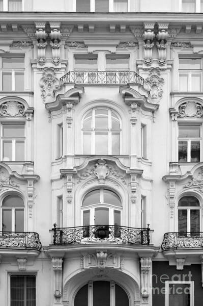Photograph - Facade On Mariahilferstrasse In Black And White by Angela Rath