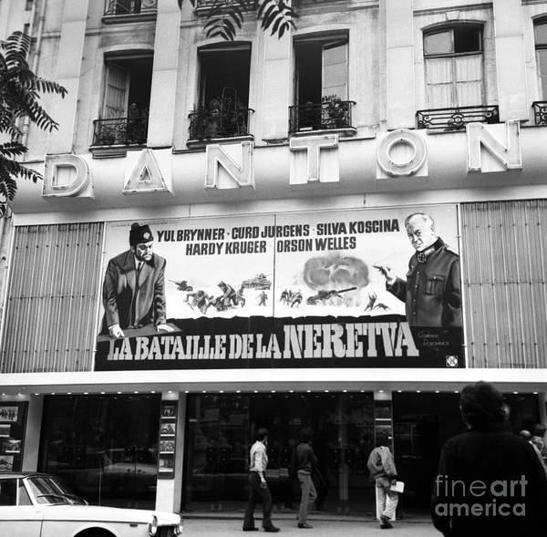 Wall Art - Photograph - Facade Of Danton Movie Theatre With Film The Battle Of The Neretva, 1970 by French School