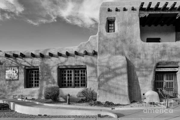 Loretto Chapel Photograph - Facade Of New Mexico Museum Of Art In Black And White - Santa Fe New Mexico by Silvio Ligutti