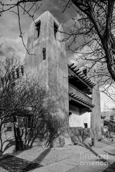 Loretto Chapel Photograph - Facade Of New Mexico Museum Of Art In Bw - Santa Fe New Mexico by Silvio Ligutti