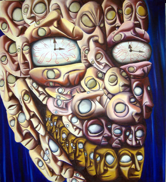 Clock Face Painting - Face Man.  by Robert  Nugent