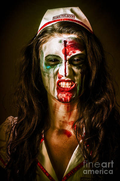 Bitter Photograph - Face Of A Scary Woman In A Horror Nurse Costume by Jorgo Photography - Wall Art Gallery