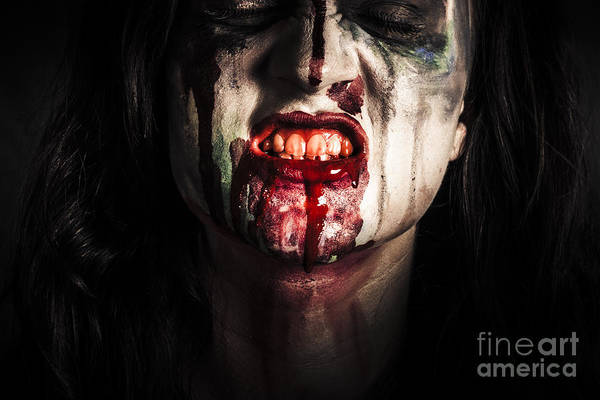 Wall Art - Photograph - Face Of Dark Vampire Girl With Blood Mouth by Jorgo Photography - Wall Art Gallery