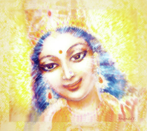 Wall Art - Mixed Media - Face Of The Goddess - Lalitha Devi - Light by Ananda Vdovic