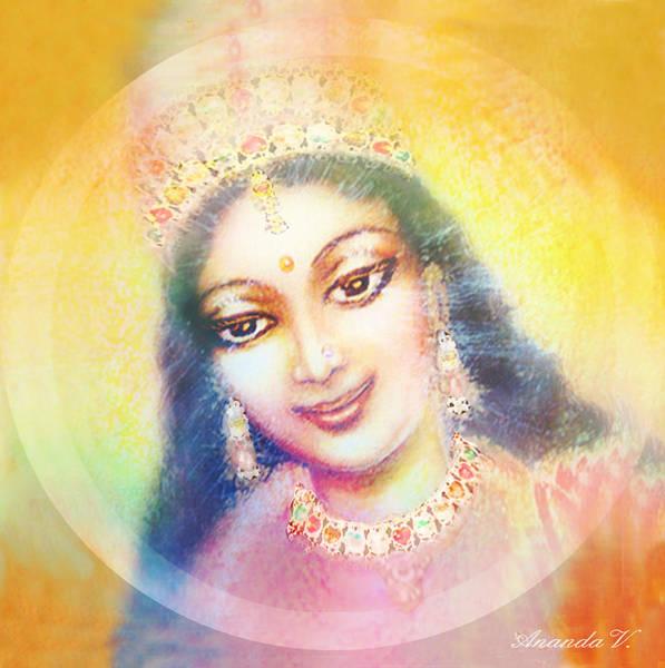 Wall Art - Mixed Media - Face Of The Goddess - Lalitha Devi - Rainbow Colors by Ananda Vdovic