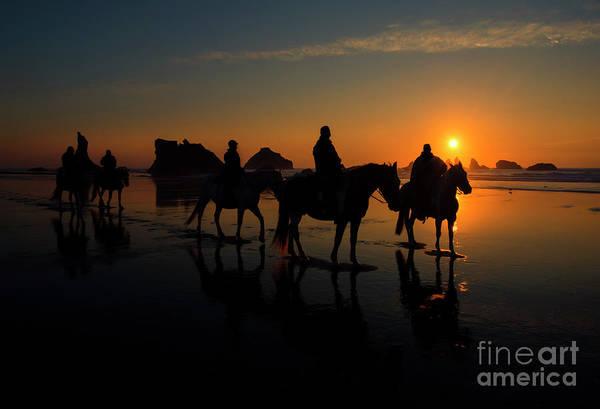 Horseback Photograph - Face Rock Sunset Ride by Mike Dawson