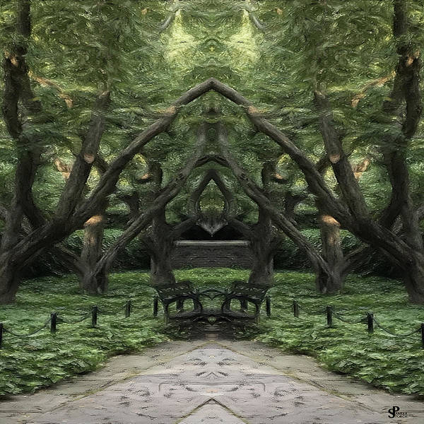 Park Bench Digital Art - Face To Face In Peaceful Park by Pamela Storch