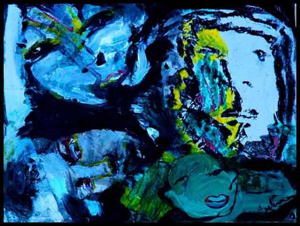 Allman Painting - Faces In The Night by Andreea Allman
