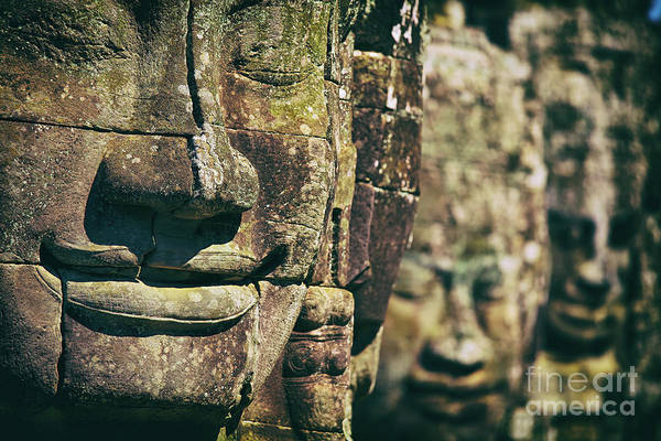 Photograph - Faces Of Bayon Temple In Angkor Thom, Angkor Wat Temple Complex, Cambodia by Sam Antonio Photography
