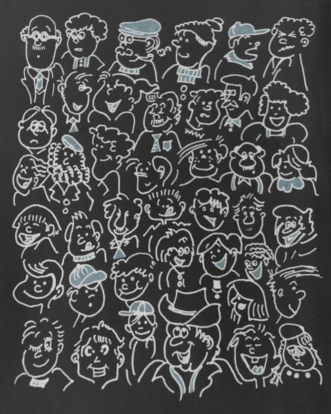 Caucasian Drawing - Faces by Art Spectrum