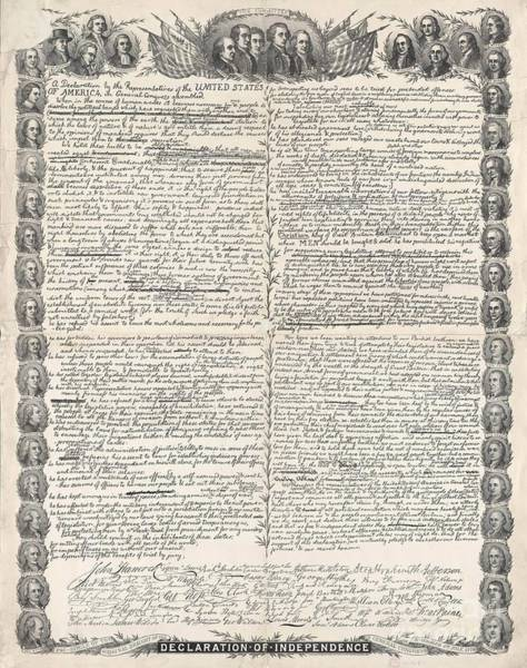 Declaration Of Independence Wall Art - Photograph - Facsimile Of The Original Draft Of The Declaration Of Independence by American School