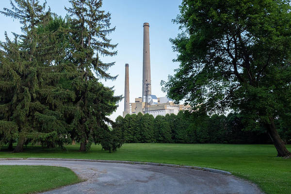 Factory Next To A Park With Smoke Stacks In Sheboygan Wisconsin Art Print