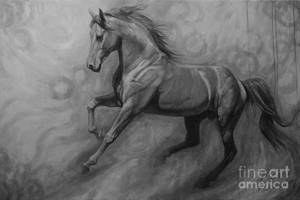 Black And White Horse Wall Art - Painting - Fade To Grey by Silvana Gabudean Dobre
