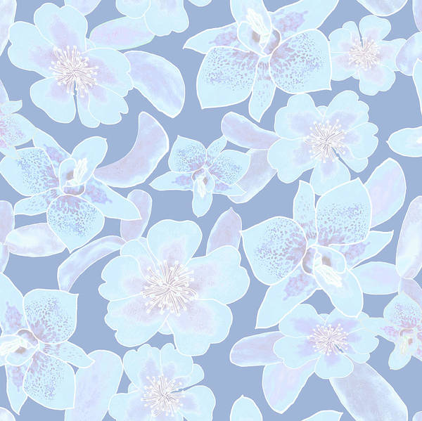 Digital Art - Faded Blue Spotted Orchids by Karen Dyson