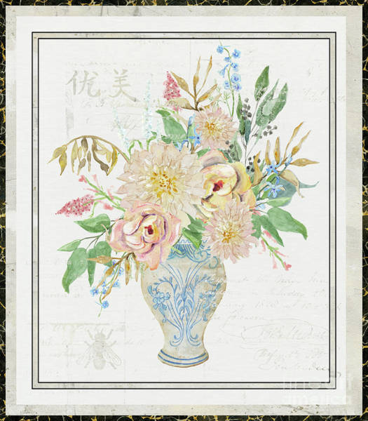 Wall Art - Painting - Faded Glory Chinoiserie - Floral Still Life 1 Blush Gold Cream by Audrey Jeanne Roberts
