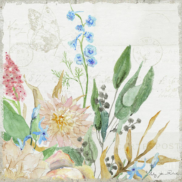 Wall Art - Painting - Faded Glory Chinoiserie - Floral Still Life 1 Chrysanthemum Mum W Seeded Eucalyptus by Audrey Jeanne Roberts