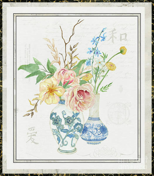 Wall Art - Painting - Faded Glory Chinoiserie - Floral Still Life 2 Blush Gold Cream by Audrey Jeanne Roberts